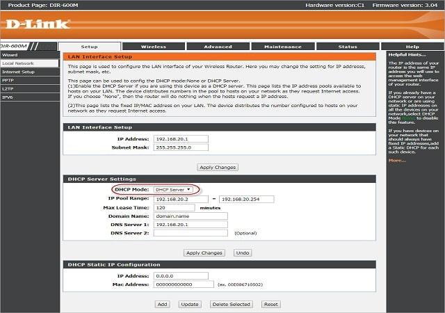 Bước 4: Chọn tab Local Network, tắt chế độ DHCP.